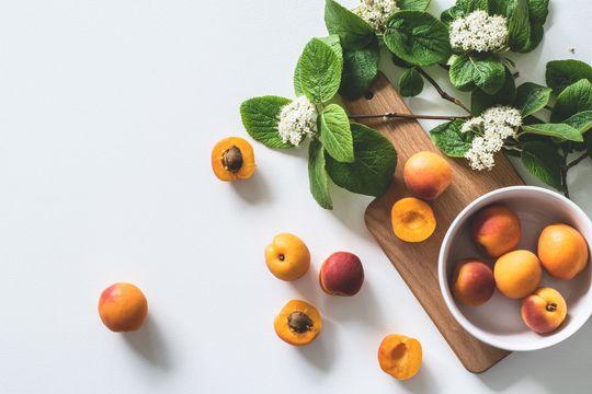 peaches on a table